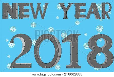 New Year 2018 on we turn blue background with snowflake