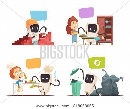 Robots assistance 4 cartoon icons concept square with artificial intelligence friends and household chores managers isolated vector illustration