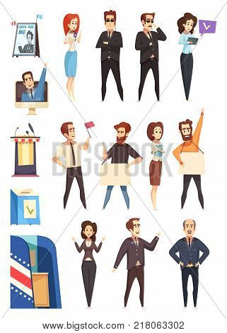 Presidential election campaign participants attributes cartoon icons collection with candidates supporters activists and slogans isolated vector illustration