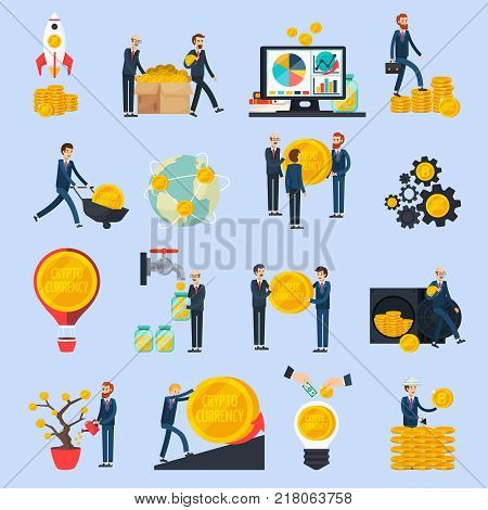 Ico blockchain concept set of orthogonal icons with idea, investment, cryptocurrency value growth, profit isolated vector illustration