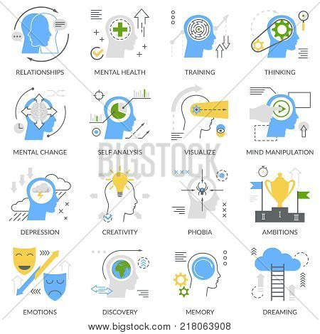 Mental concept set of flat icons with self analysis, training, thinking, phobias and emotions isolated vector illustration