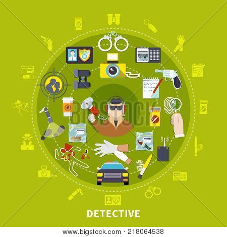 Detective round composition with detective and his working tools and things for work vector illustration