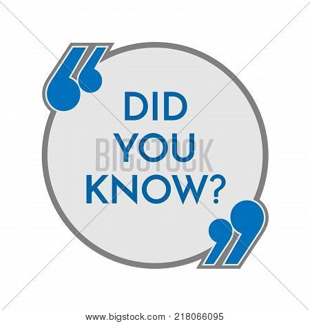 Did you know question sign in inverted commas inside grey speech bubble with thick outline isolated cartoon vector illustration on white background.