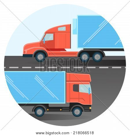 Massive diesel trucks drive on two-line broad highway in opposite ways inside circle isolated cartoon flat vector illustration on white background.