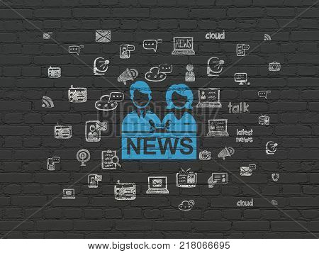 News concept: Painted blue Anchorman icon on Black Brick wall background with  Hand Drawn News Icons
