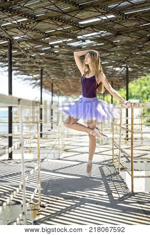 Pretty ballerina stands on the left toe on the concrete pier with metal handrails. She wears pointes, violet leotard with lilac tutu. Girl holds left hand on the handrail, right hand is on the head.