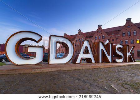 Gdansk city outdoor sign at Olowianka island, Poland