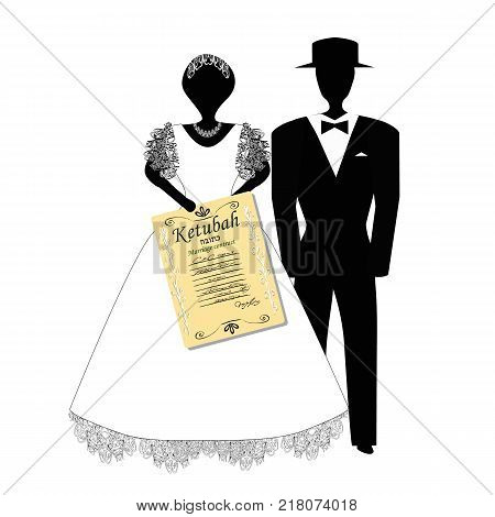 The bridegroom in the hat and the bride is holding Ktuba Hebrew in translation of the marriage contract. Jewish wedding. Vector illustration on isolated background.