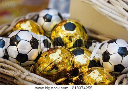Christmas Golden Toy As Soccer Ball In Basket. Xmas Fair. Festive Holiday. Christmas Market, Fair. C