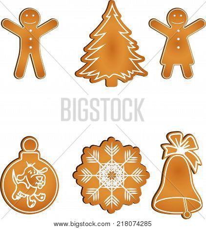 Set of six isolated gingerbread cookies consists of a gingerbread couple, x-mas toy, snowflake, hand bell, and new-year tree