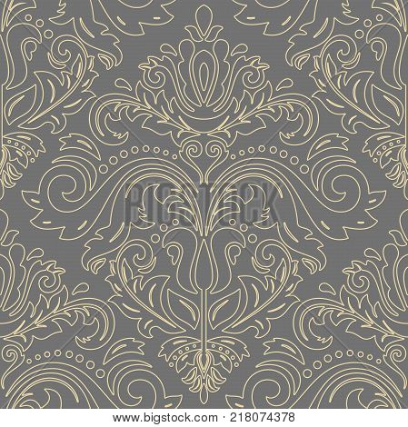 Orient vector classic pattern with golden outlines. Seamless abstract background with vintage elements. Orient background