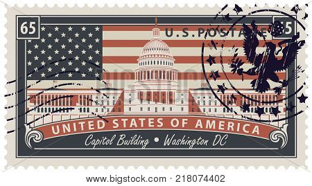 Vector Postage stamp with inscriptions and the image of the USA Capitol in Washington DC. Vector illustration Capitol Building in Washington on the background of american flag