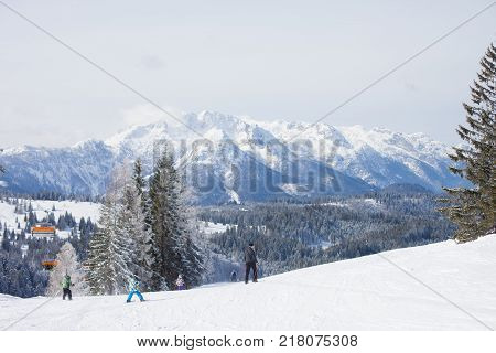 Winter snowy landscape of a ski areal in Austria Europe