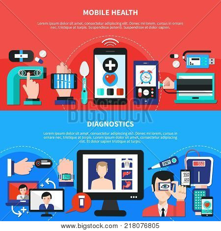 Mobile wearable digital healthcare gadgets for body  functions measurements diagnostics 2 flat horizontal banners isolated vector illustration