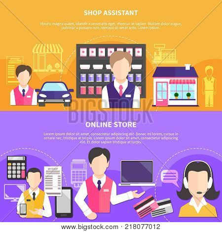 Salesman horizontal banners collection with shopworker characters and online store items payment terminal and credit cards vector illustration poster
