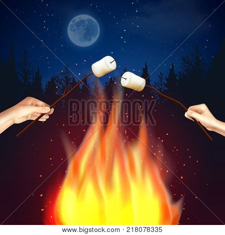 Campfire marshmallow composition with forest moonlit night scenery and flame with human hands broiling pieces of marshmallow vector illustration