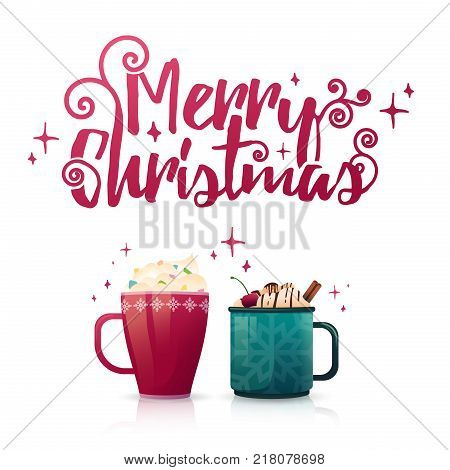 Design seasonal banner Merry Christmas. Poster template with couple of hot beverage mugs. Christmas drinks with coffee, cocoa or chocolate. New Year banner for promotion and special xmas sale. Vector.