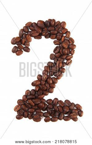 Number 2 made of coffee beans isolated on white. Concepts: alphabet logo creative coffee hand made words symbols.