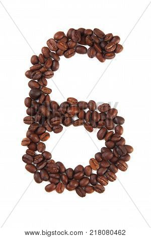 Number 6 made of coffee beans isolated on white. Concepts: alphabet logo creative coffee hand made words symbols.