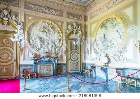 Racconigi Italy - June 28 2015: Sculptures and decorations of the Diana hall