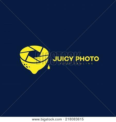 Juicy photo logo template design. Vector illustration.