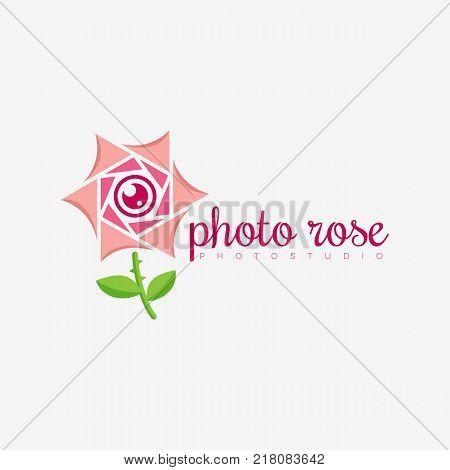Photo rose logo template design. Vector illustration.
