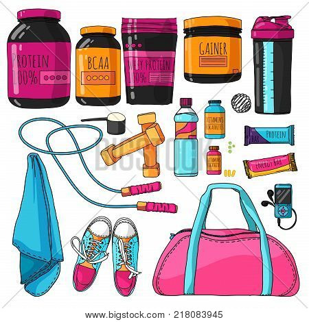 Color set of things for fitness and sports nutrition. A set with a protein, shaker, vitamins and protein bars. Sports bag for the gym. Healthy Nutrition for the athlete and bodybuilder. Vector