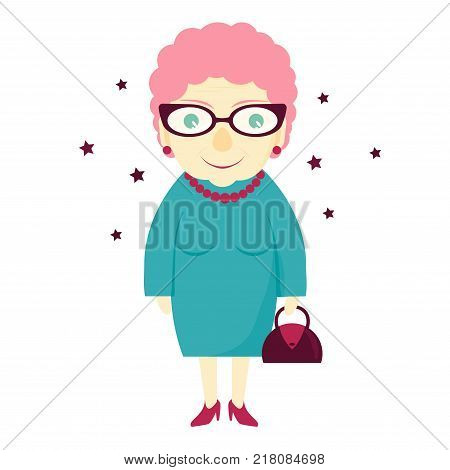 Stylish lovely grandmother with a handbag. Elderly woman . The old lady. Vector