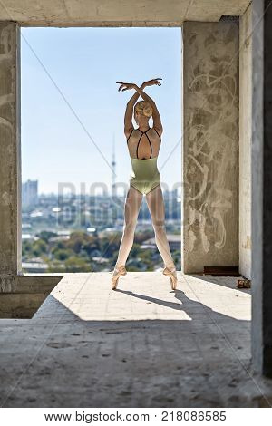 Cute ballerina is posing on the concrete floor of the unfinished building on the cityscape background. She wears a green leotard with light leggings and pointe shoes. Shoot from the back. Vertical.