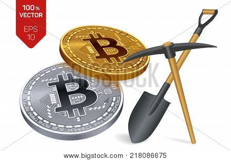Bitcoin mining concept. 3D isometric Physical bit coin with pickaxe and shovel. Digital currency. Cryptocurrency. Golden and silver bitcoin coins isolated on white background. Vector illustration