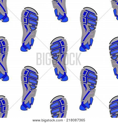 Clean Sport Shoe Seamless Imprints Isolated on White Background