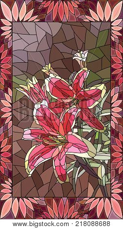Vector mosaic with couple pink lilies in vertical stained-glass window frame.