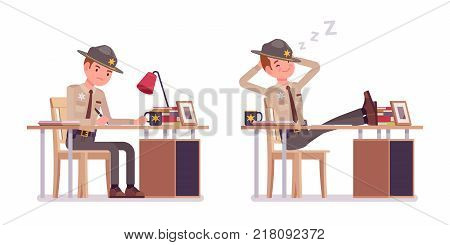 Male sheriff working at desk and resting. Chief executive officer wearing official uniform in routine duty. Law and justice concept. Vector flat style cartoon illustration isolated on white background