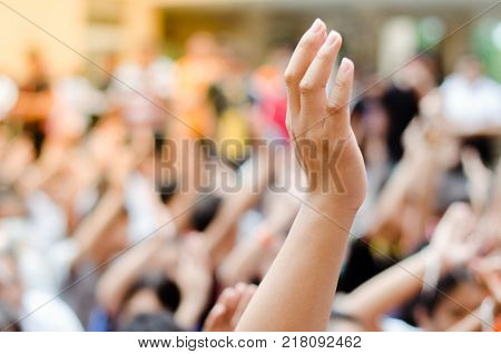 Raising Hands For Participation.raising Hands For Vote Participation.