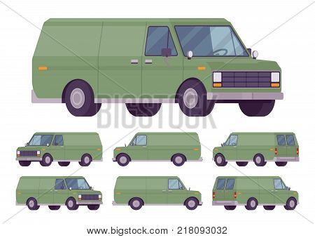 Green van set. Road vehicle for transporting goods, medium-sized motor delivery truck for commercial service and business needs. Vector flat style cartoon illustration isolated on white background