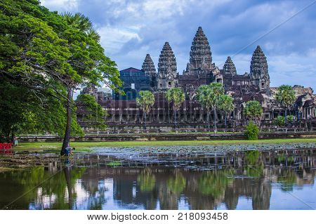 Siem Reap Cambodia - Oct 17 : The Angkor Wat Temple In Siem Reap Cambodia On October 17 2017 The Ang