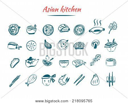 Asian food sketch icon set. Chinese and Thai restaurant food. Oriental design isolated on white background with shrimp, wok, noodle.