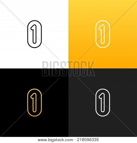Logo 1 and 0. Linear logo of the one and zero for companies and brands with a yellow gradient. Set of minimalistic monogram design.