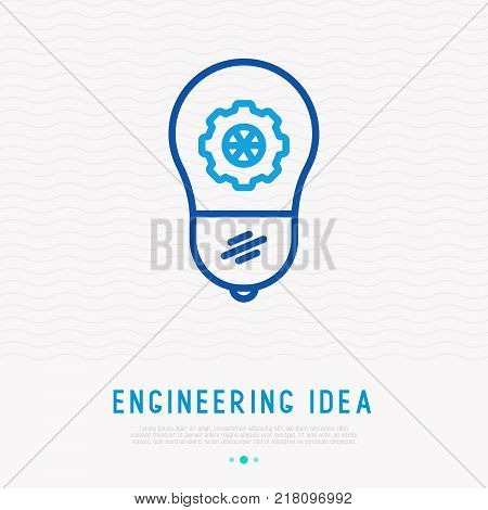 Engineering idea concept: light bulb with wheel thin line icon. Modern vector illustration.