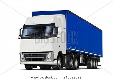 3D illustration of truck and curtainsider semitrailer with canvas top, isolated on white