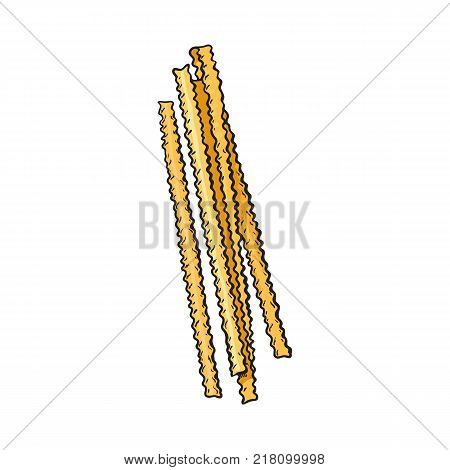 Raw, uncooked ribbon cut Italian pasta with ruffle sides, sketch style vector illustration on white background. Realistic hand drawing of ribbon cut Italian pasta with ruffle sides, uncooked
