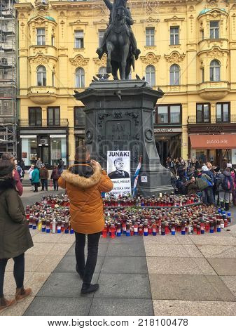 ZAGREB, CROATIA - 8 DECEMBER 2017: Candles and flags honouring the war criminal Slobodan Praljak on the main square in the capital city.