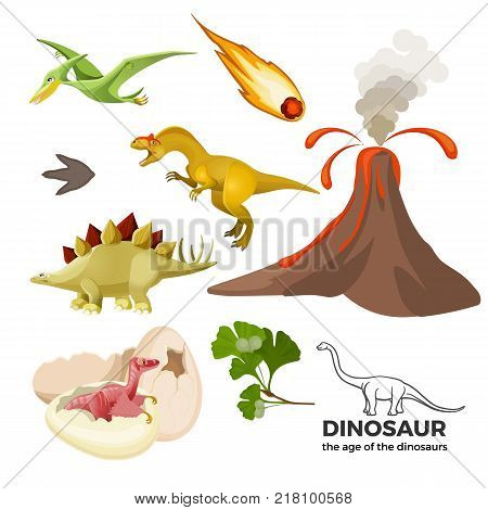 Age of dinosaurs banner with prehistoric predators t-rex, tyrannosaurus, pterodactyl, falling meteor, volcanic eruption, eggshell vector illustration set