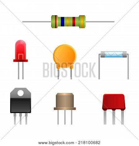 Diode types set, two-terminal electronic component that conducts current primarily in one direction asymmetric conductance, semiconductor diodes vector