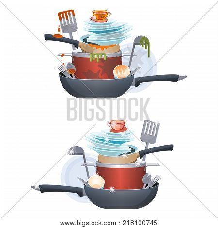 Dirty and clean dishes plates and pans, kitchen cutlery, cups and bows, unclean and washed poles of dishes vector illustration isolated on white background