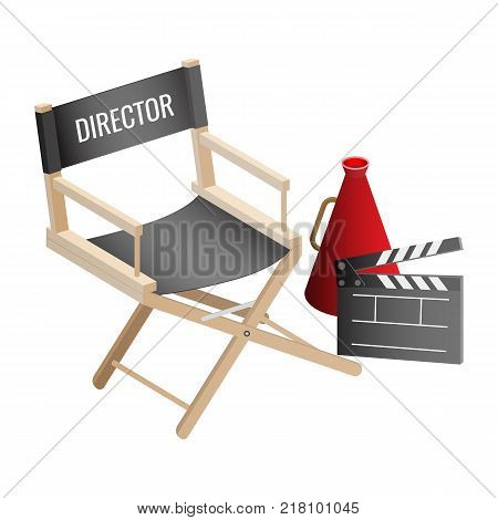 Director empty chair, cinema clapper and loudspeaker filmmaker attributes isolated on white background. Workplace seat of producer vector illustration
