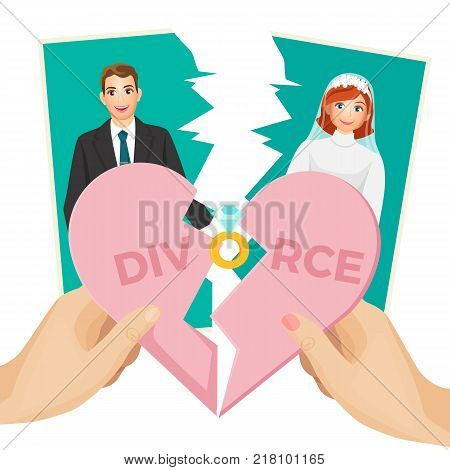 Divorce concept vector illustration of splitted heart and photo of bride and groom, end of relationship between couple, parted picture with ex-lovers