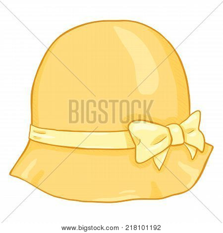 Vector Cartoon Yellow Elegance Women Hat on White Background