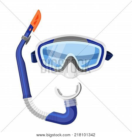 Diving mask and tube isolated on white background. Vector illustration of silicone protective gear for underwater swimming, scuba goggles accessories