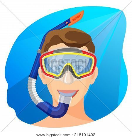 Man in diving mask underwater vector illustration. Person in diving equipment breath with help of rubber tube, scuba facial gear, extreme diver